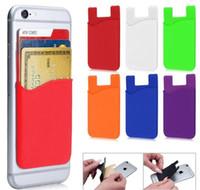 ingrosso adesivi per cellulari-Portafoglio in silicone Portafoglio in contanti Portafoglio adesivo Porta adesivo Porta cellulare 3M Gadget per iPhone Samsung