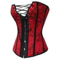 0e1c1c15a6 Sexy Red Waist Trainer Corsets and Bustiers Lace Up Corset Top For Wedding  Dress Plus Size Lingerie Overbust Underwear