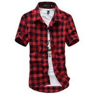 camisas xadrez pretas para homens venda por atacado-Camisa xadrez vermelho e preto camisas dos homens 2016 nova moda verão Chemise Homme Mens xadrez camisas de manga curta camisa homens baratos