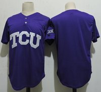 Wholesale Frog Custom - Newest-Men\'s custom NCAA TCU Horned Frogs COLLEGE Baseball jersey Stitched Purple Super Frog Personalized jerseys