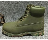 botas de marca auténticas al por mayor-2018 Authentic Brand Motorcycle Boots Hombre Casual 6-Inch Premium Boots Mujeres impermeable al aire libre 10061 Wheat Nubuck botas talla 36-46