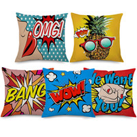 Wholesale sofa pillow pop art - American POP Art Cushion Covers POP BANG WOW Pineapple Cushion Cover Decorative Linen Cotton Pillow Case For Sofa Couch