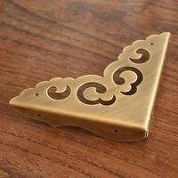 antique brass corner bracket furniture desk cabinet jewelry box wood box hardware corner hollow lace flower corner