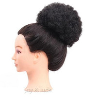 Wholesale hair updo buns - Afro Kinky Curly Women's Elastic Net Curly Chignon Bun With Two Plastic Combs Updo Cover Synthetic Hai