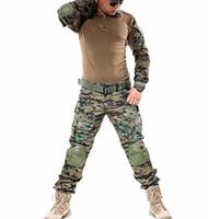 taktisches t-shirt großhandel-Outdoor Tactical Jagd Combat Training Uniform Sets Shirt Hosen FG Dschungel Digital Camo Armee Kleidung W / Pads