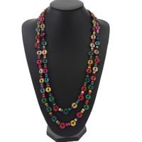 ingrosso handmade shell necklace-Nuovo design multicolore legno perline fatti a mano stringa lunga catena collane Donne in legno guscio di noce di cocco regalo gioielli etnici
