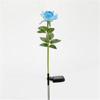 güneş enerjili gül toptan satış-Güneş Enerjisi Bahçe Işık Su Geçirmez Çok Renkli Gül Çiçek LED Lamba Beyaz Işık Dekoratif Bitki Lambası Ücretsiz Kargo