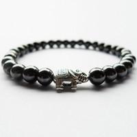 Wholesale beads elephant bracelet - Best selling 6MM magnetic Hematite stone elephant beads bracelets women man Period Fitness Sleep Mood Tracker health bracelet