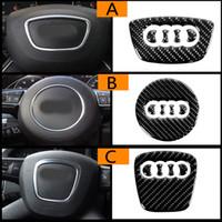 углеродное волокно для рулевого колеса оптовых-Для Audi A1 A3 A5 A4 A6 A7 A8 S3 S4 S5 S6 S7 Q3 Q5 Q7 TT Углеродного волокна Кольцо рулевого колеса с эмблемой 3D наклейки Стайлинга автомобилей Автоаксессуары