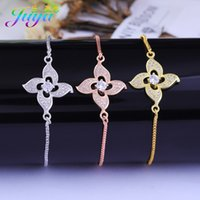 цветы из розового золота оптовых-New Design Flower Jewelry Bracelet Handmade Gold/Silver/Rose Tulip Flower Charm Bracelet For Women Girls Cubic Zirconia
