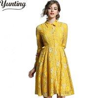avrupa iş elbisesi toptan satış-Yeni Avrupa Sonbahar Vestidos Womens Vintage Nakış Dantel Elbiseler Femme Seksi Rahat Çalışma Ince Parti Elbise Oymak