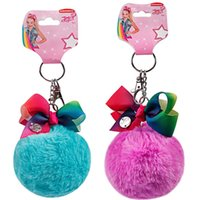 Wholesale Hot Sale JOJO Wool Ball Children s Bow Keychain Clip Hairpin Pendant Styles the Best Gift for Girl