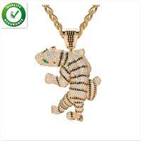 ingrosso zodiaco 3d-Ciondolo Iced Out gioielli firmati Hip Hop Ciondoli tigre feroce esagerati Animal 3D Full Diamond CZ Agata Occhio con catena Fashion Zodiac
