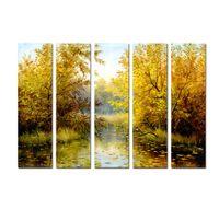 paneles de paisajes de petroleo al por mayor-Grande 5 Panel de Calidad de Impresión en Lienzo Arte de La Pared Hermoso Paisaje Astract pintura al óleo para la Sala de estar Imagen Moderna Decoración Del Hogar DHB10