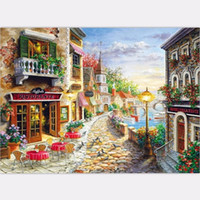 Wholesale oil painting animal scenery resale online - Large High Quality Hand painted Scenery Picture Of Town Art Oil Painting On Canvas Hmoe Decor Wall Art Landscape Picture Multi sizes l88