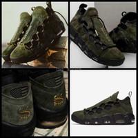 usa zapatos nuevos al por mayor-2018 New Air More Money EE. UU. Hombres Zapatillas de baloncesto Ejército Verde Azul Scottie Pippen Hombres Uptempo Zapatillas de deporte Zapatillas de baloncesto Pelota Zapatos deportivos