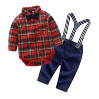 ingrosso legame lungo dell'arco del manicotto dei neonati-2018 Fashion Baby Boy Clothing Set Gentleman baby plaid body + pants + bow tie Suit manica lunga Kids Boy Set abbigliamento per bambini