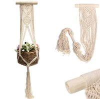 Wholesale wholesale plastic hanging flower pots - Vintage Macrame Plants Hanger 40 Inch Hook Flower Pot Holder Balcony Decoration Holder String Hanging Rope Wall EEA386 5PCS