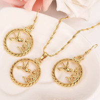 altın taklidi mücevherler toptan satış-Altın Dolgulu kesip Ağaç Dalı Kuş Kolye Zincir küpe Kolye Bohemian Gerdanlık Charms Mücevherat Hediye onu YENI