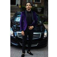 chaqueta de pana negra de los hombres al por mayor-Corduroy Purple Slim Fit Blazer para hombre Traje negro de solapa con un botón Un solo botón separa la chaqueta formal de Junior Boy