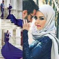 Wholesale collar designs for wedding dresses online - Hot Fashion Muslim Mermaid Wedding Dresses High Neck Satin Bridal Gowns For Women Designed Wedding Gowns