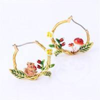 серьги с глазурью оптовых-France Les  Enamel Glaze Cute Animal Series Squirrel Mushroom Asymmetrical Women Earrings