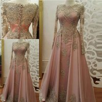 Wholesale Modest Evening Gowns For Women - Blush Rose gold Evening Dresses for Women Wear Long Sleeve Lace Appliques crystal Abiye Dubai Caftan Muslim Prom Party Gowns 2018 Modest