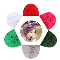 Wholesale baby bow hat - Baby Winter Hemming Cap with Bow Wrinkle Cute India Fashion El Sombrero Warm Milk Silk Hat