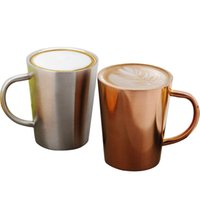 Wholesale double resistance - Stainless Steel Cup 350ML Double Layer Plated Coffee Cup Heat Insulation Resistance Milk Tea Mug 2 Colors OOA4726