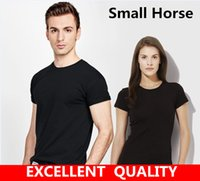 Wholesale mens clothing small - 2017 Summer Fashion Men\'s T Shirt Small Horse Embroidery Casual Short Sleeve T Shirt Mens Clothing Trend Casual Slim Fit Hip-Hop Top Tees