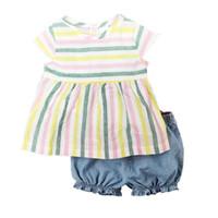 meninas 12 meses de roupa venda por atacado-Moda Roupas de Bebê Menina Definir Roupas Recém-nascidos de Algodão 2-Pieces Roupas Terno Meninas Vestido Blusa Calça Curta 6 9 12 18 24 meses
