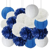 ingrosso lanterne di carta blu-18pcs blu marino bianco misto tessuto pon pon lanterna di carta Boy Baby Shower bomboniere decorazioni di compleanno di nozze