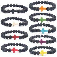 ingrosso pietre di colore nero per gioielli-9Pcs / Lot colore della miscela Volcanic black round Stone bead Jewelry Bracciale Energy Multicolor Lava Cross yiwu factory bracciale fatto a mano