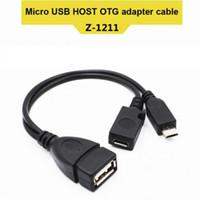 кабельные штырьки usb оптовых-2 в 1 OTG Micro USB Host Power Y Разветвитель USB-адаптер для Micro 5-контактный штекер Женский кабель