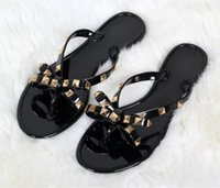 0281b51412f6 Wholesale jelly shoes for sale - Women Rivets Bowknot Flat Slippers Girls  Flip Flops Summer Shoes