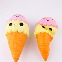 Wholesale sweet girl face - 16CM Squishy Double Smiley Girl Baby Face Ice Cream Toy Jumbo Relieve Stress Dcompression Slow Rising Rebound Sweet Scented Baby Toys