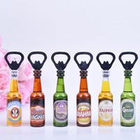 Wholesale ship shaped magnets resale online - Creative Mini Bar Beer Bottle Opener Bottle Shape Decorative Refrigerator Magnets Kitchen Tool wen7053