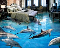 Wholesale underwater 3d mural waterproof wallpapers fireproof resale online - 3d pvc flooring custom photo Waterproof floor Underwater World Dolphins home improvement d wall murals wallpaper for walls d print fabric