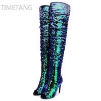 oberschenkel heiße high heels großhandel-Heiße 2017 neue angekommene Winter Frau blau Stiefel über die Knie Oberschenkel hohe Stiefel Bling Bling sexy High Heels Pailletten Tücher Slip auf
