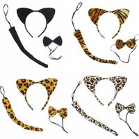 Wholesale cat ear tail - Head Hoop Christmas Party Supplies Kindergarten Dance Perform Animal Cat Ear Bow Tie Tail Three Set Plush Headdress Fashion Headband 2 6fq Y