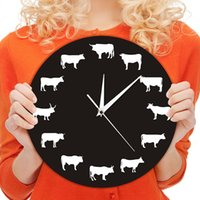 детские часы оптовых-1Piece Bison Silhouette Wall Clock Farmhouse Farm Animals Highland Cow Bull  Nursery Wall Decor Hanging Time Clocks