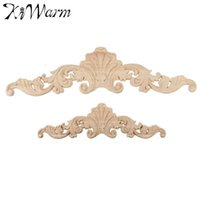 Wholesale Wall Art Wooden - Wholesale- KiWarm 1PC Vintage Wood Carved Corner Onlay Applique Frame Doors Wall Decorate Furniture Decorative Figurines Wooden Miniatures