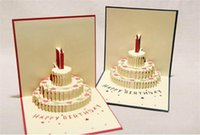Wholesale birthday cake pop up resale online - NEW arrive birthday cake D Pop UP Gift Greeting D Blessing Cards Handmade paper silhoue Creative Happy christmas cards