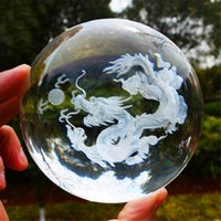 Wholesale carved statues - 3D Crystal Dragon Ball Figurine Feng shui Office Decorative Storm Glass Ball Balls Ornaments Animal Dragon Statue Crafts
