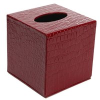 салфетка для автомобиля оптовых-Best Durable Room Car PU Leather Square Tissue Box Paper Holder Case Cover Napkin Color:Red crocodile paern ,Size: 13.8 * 13