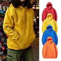 Wholesale Yellow Sweaters For Women - Autumn Winter Men's Explosion Hip-hop Sweatshirts Candy Color Streetwear Fashion Loose Hooded Sweater Lovers Wear Tops Hoodies for Men Women
