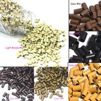 herramienta de pelo de plumas al por mayor-Micro Ring Loop Link Beads Straight Copper Beads Feather Hair Extension Tools 3.4x3.0x6.0mm 1000 Unids por lote bolsa