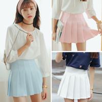 Wholesale sailor white uniform - 2018 High Waist Lolita Denim Pleated Skirts Harajuku Girls A-line Mini Sailor Skirt Large Size Japanese School Uniform Skirts