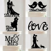 Wholesale groom bride for cake - 2018 Lovely Cakes Decorations Customized English Letter Type Bride And Groom Cake Insert Card For Birthday Wedding LOVE 4hz X