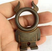 Wholesale steel fists - 2018 New Brass Knuckles Holy Spiritus Mundus Named Iron Dusters fist Window Breaker Finger Ring Tool Bottle Opener Self-Defense tools